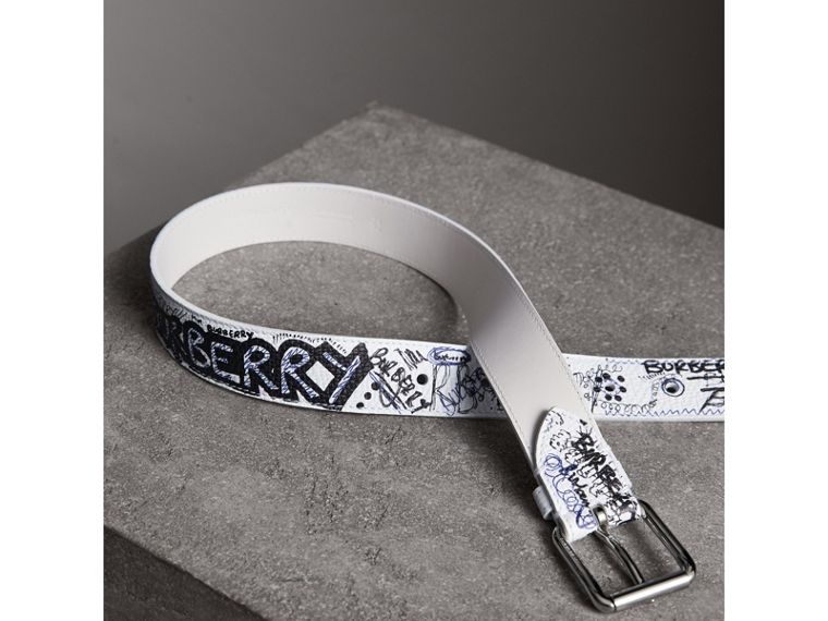 Doodle Print Leather Belt in White - Men | Burberry - cell image 2