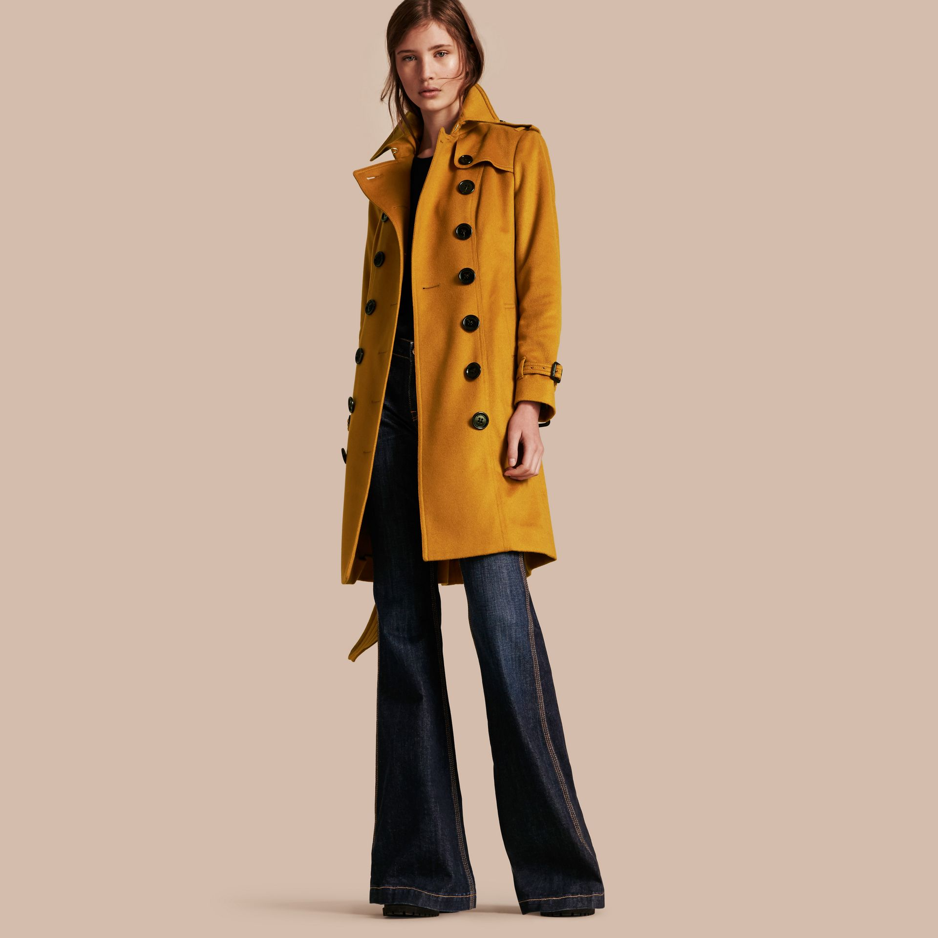 Umber yellow Sandringham Fit Cashmere Trench Coat Umber Yellow - gallery image 1
