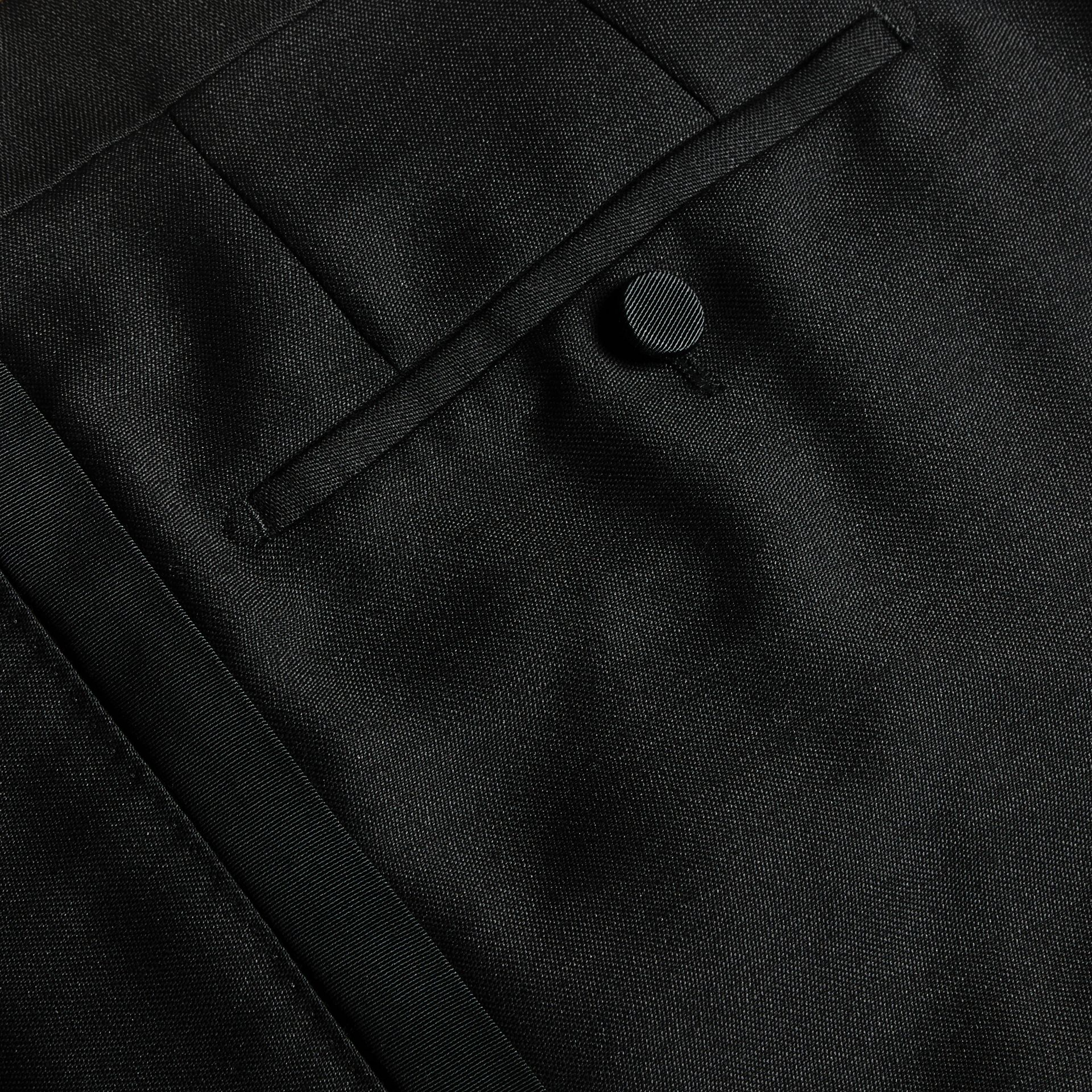 Modern Fit Wool Mohair Tuxedo Trousers in Black - Men | Burberry - gallery image 2
