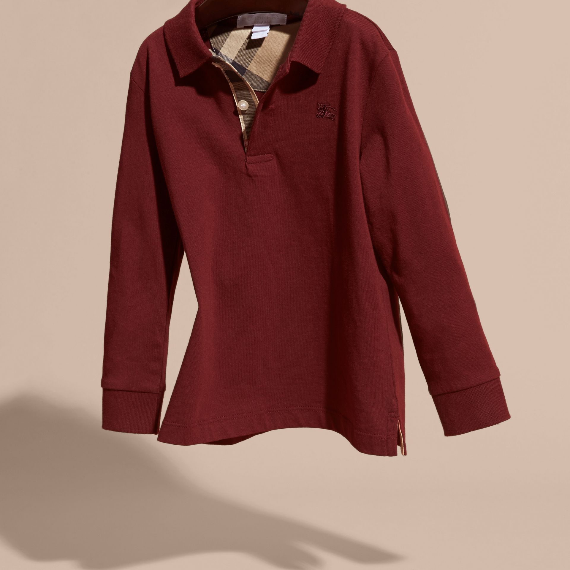 Burgundy red Long-sleeved Cotton Polo Shirt Burgundy Red - gallery image 3