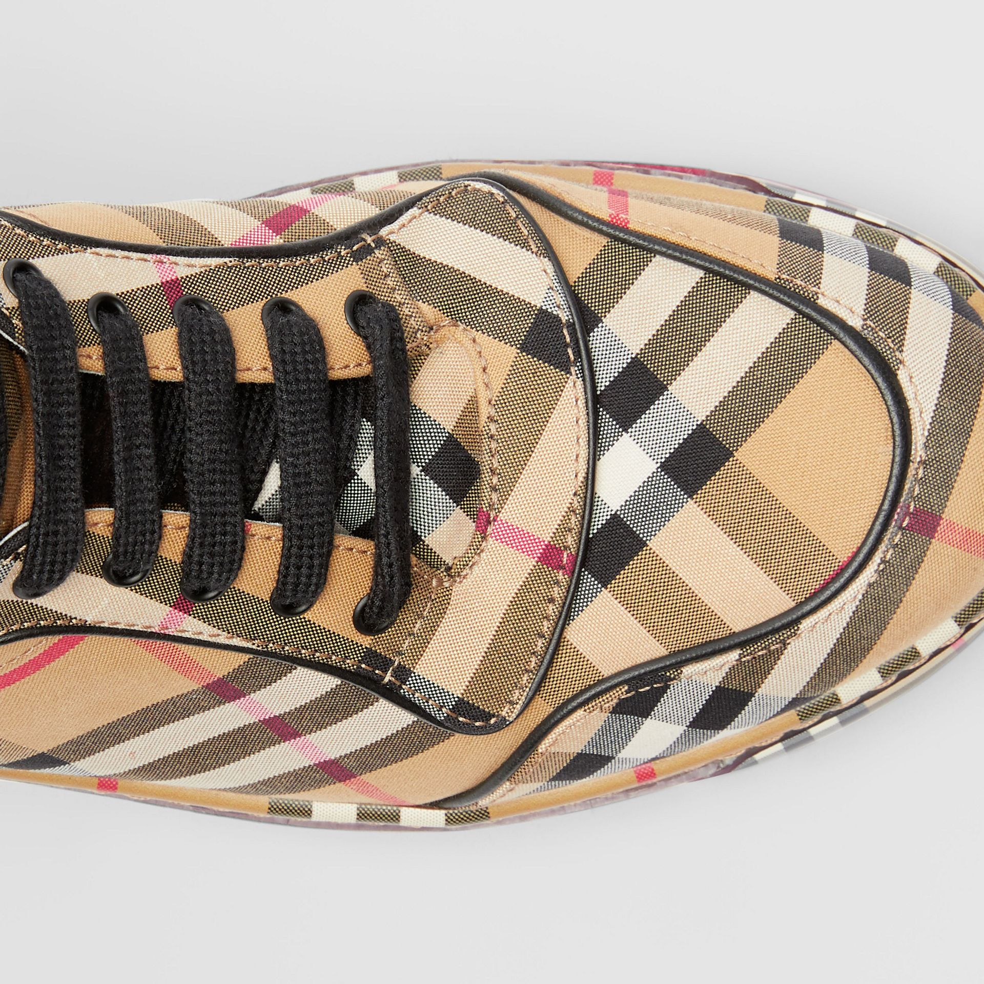 Vintage Check Cotton High-top Sneakers in Antique Yellow - Women | Burberry Australia - gallery image 1