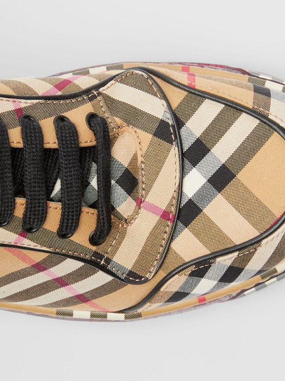 Vintage Check Cotton High-top Sneakers in Antique Yellow - Women | Burberry Hong Kong - cell image 1