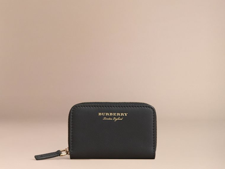 Trench Leather Ziparound Coin Case in Black - Men | Burberry - cell image 4