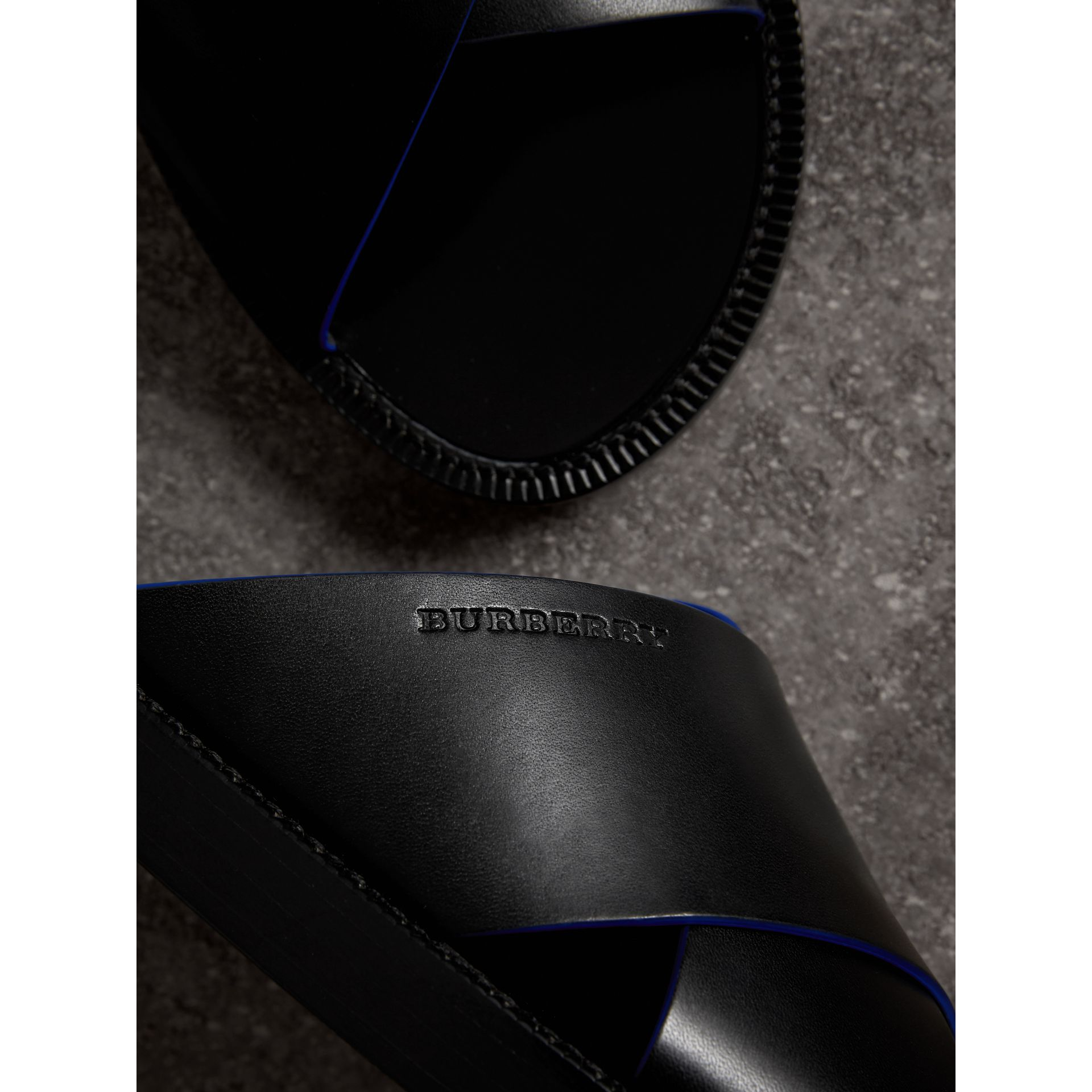 Contrast Detail Leather Sandals in Black - Men | Burberry - gallery image 1