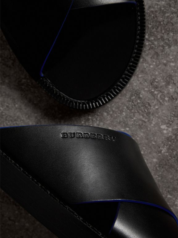 Contrast Detail Leather Sandals in Black - Men | Burberry - cell image 1