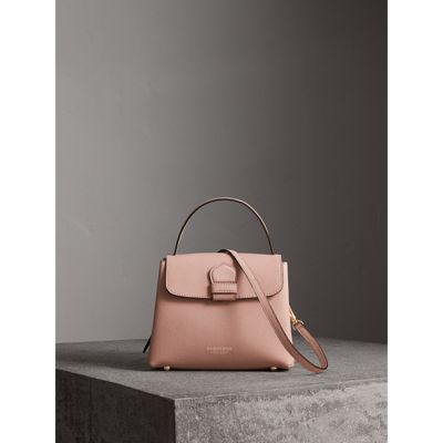 Small Grainy Leather and House Check Tote Bag in Pale Orchid - Women |  Burberry -