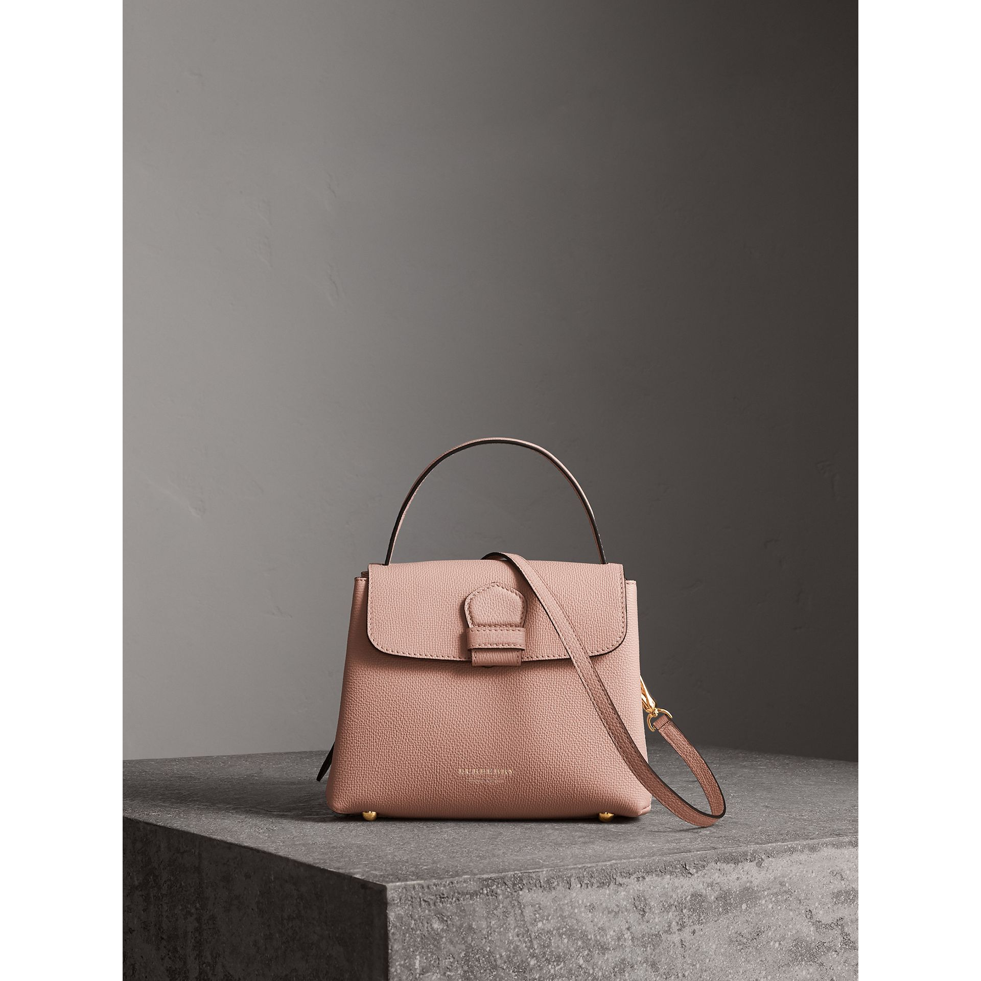 Small Grainy Leather and House Check Tote Bag in Pale Orchid - Women | Burberry - gallery image 8