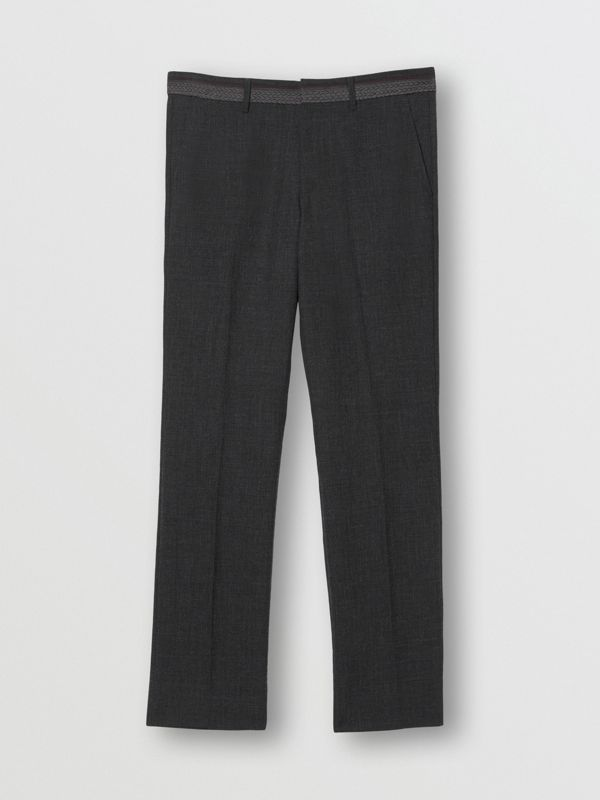 Classic Fit Wool Tailored Trousers in Dark Grey | Burberry - cell image 3