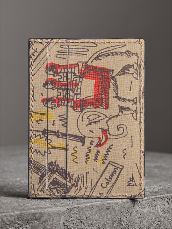 London Icons Print Leather Card Case in Multicolour - Men | Burberry - cell image 2
