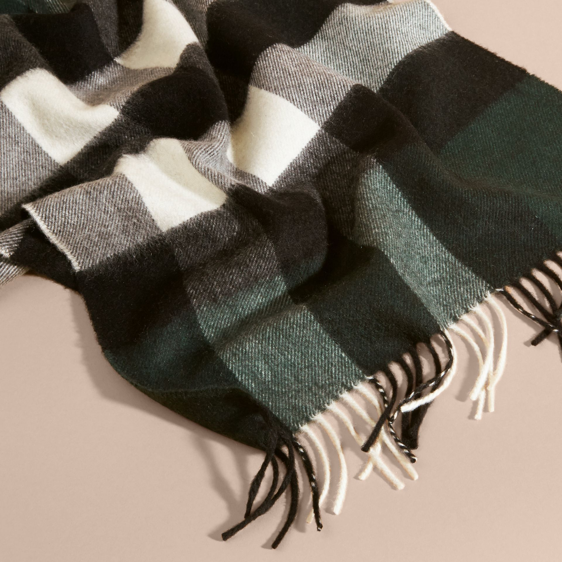 The Large Classic Cashmere Scarf in Check Dark Forest Green - gallery image 5