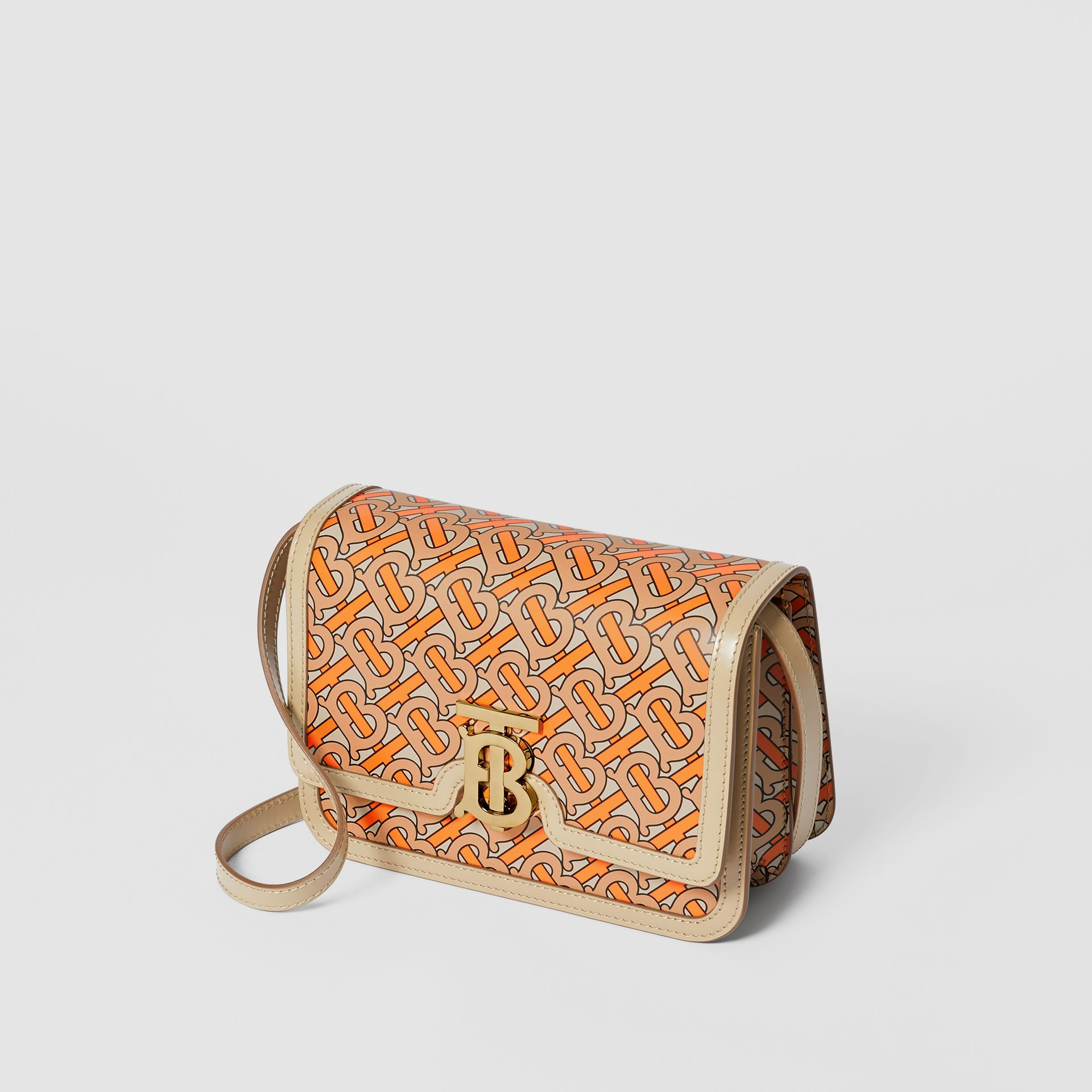 Small Monogram Print Leather TB Bag in Bright Orange - Women | Burberry - gallery image 2