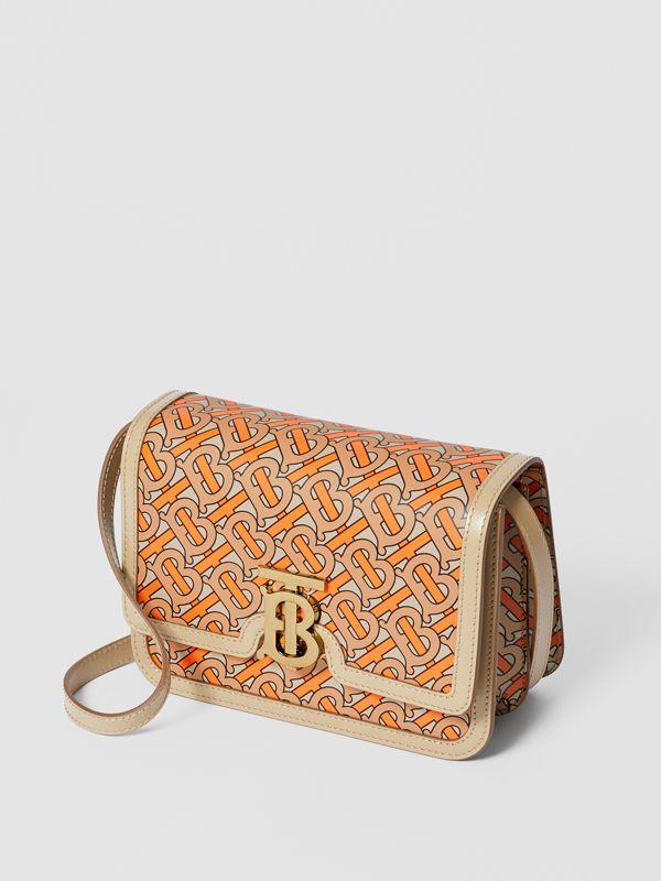 Small Monogram Print Leather TB Bag in Bright Orange - Women | Burberry - cell image 3