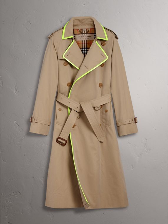 Tape Detail Cotton Gabardine Trench Coat in Honey - Men | Burberry - cell image 3