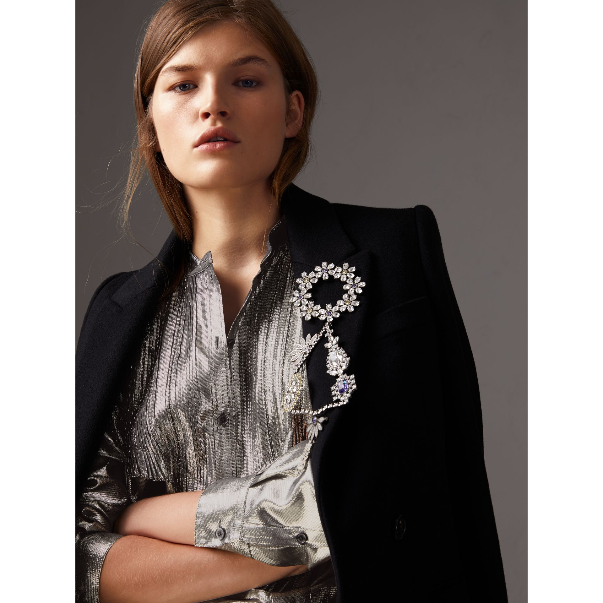 Pintuck Detail Silk Lamé Shirt Dress in Silver - Women | Burberry United Kingdom - gallery image 1