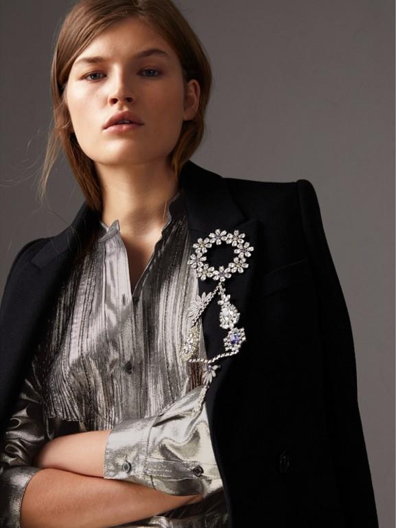Vestido de lamê de seda com detalhe plissado (Prateado) - Mulheres | Burberry - cell image 1