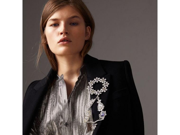 Pintuck Detail Silk Lamé Shirt Dress in Silver - Women | Burberry - cell image 1
