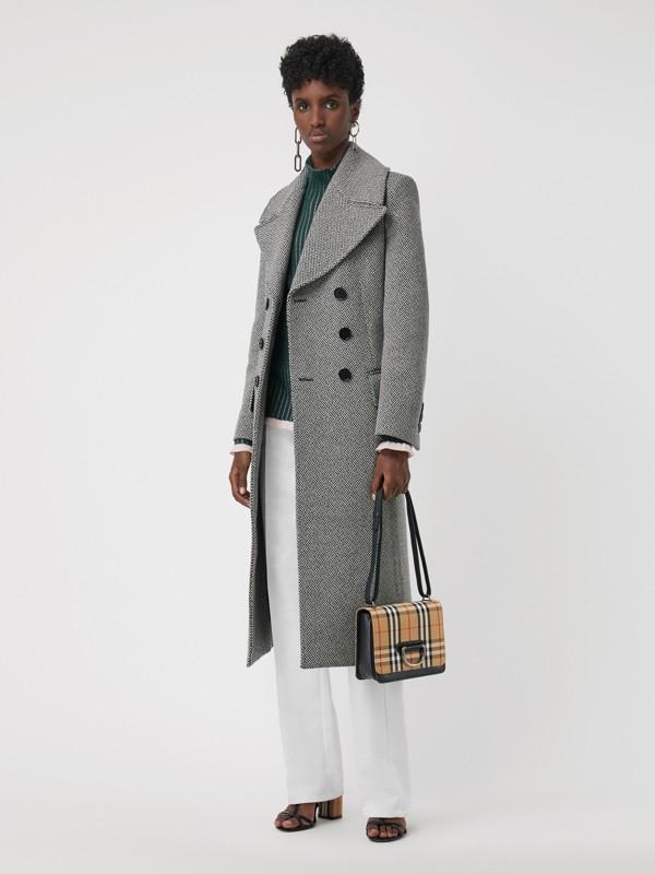 Petit sac TheD-ring en cuir et à motif Vintage check (Noir/jaune Antique) - Femme | Burberry - cell image 2