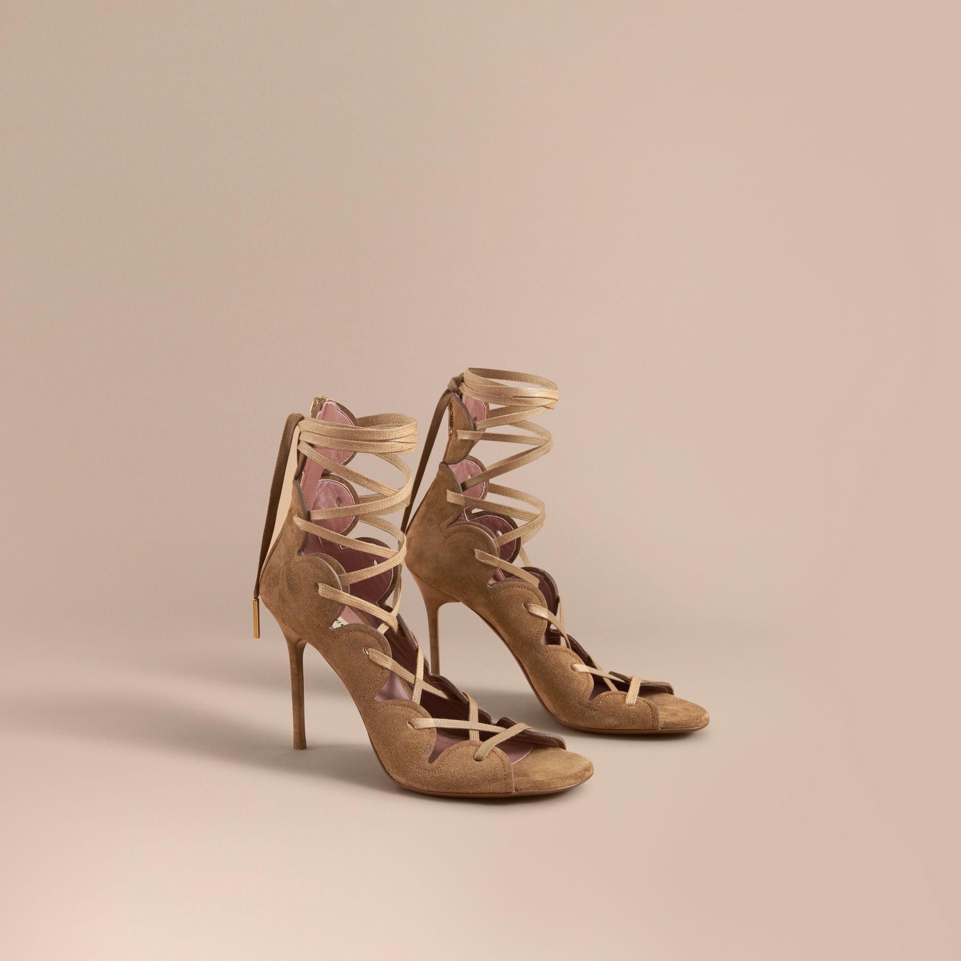 Scalloped Suede Lace-up Sandals in Sandstone - Women | Burberry - gallery image 1
