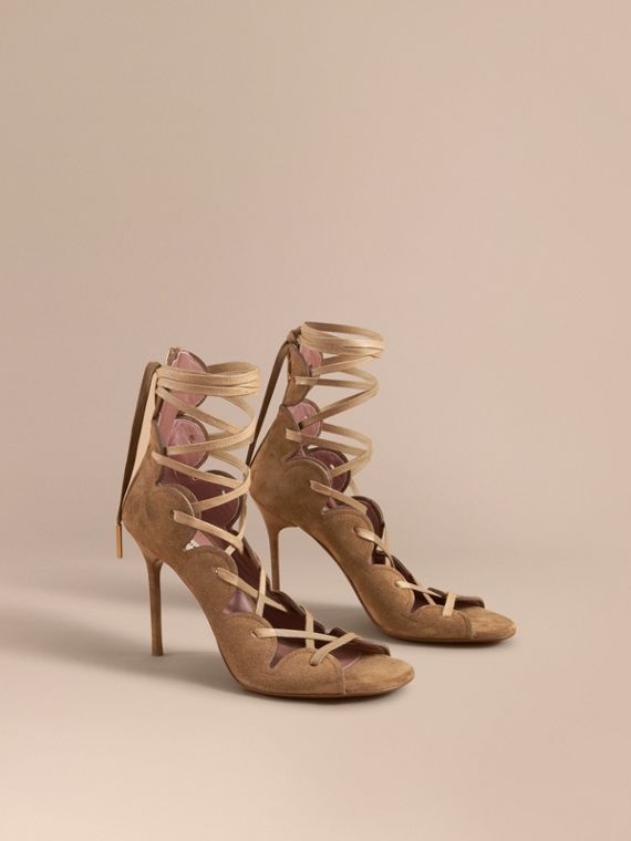 Scalloped Suede Lace-up Sandals in Sandstone
