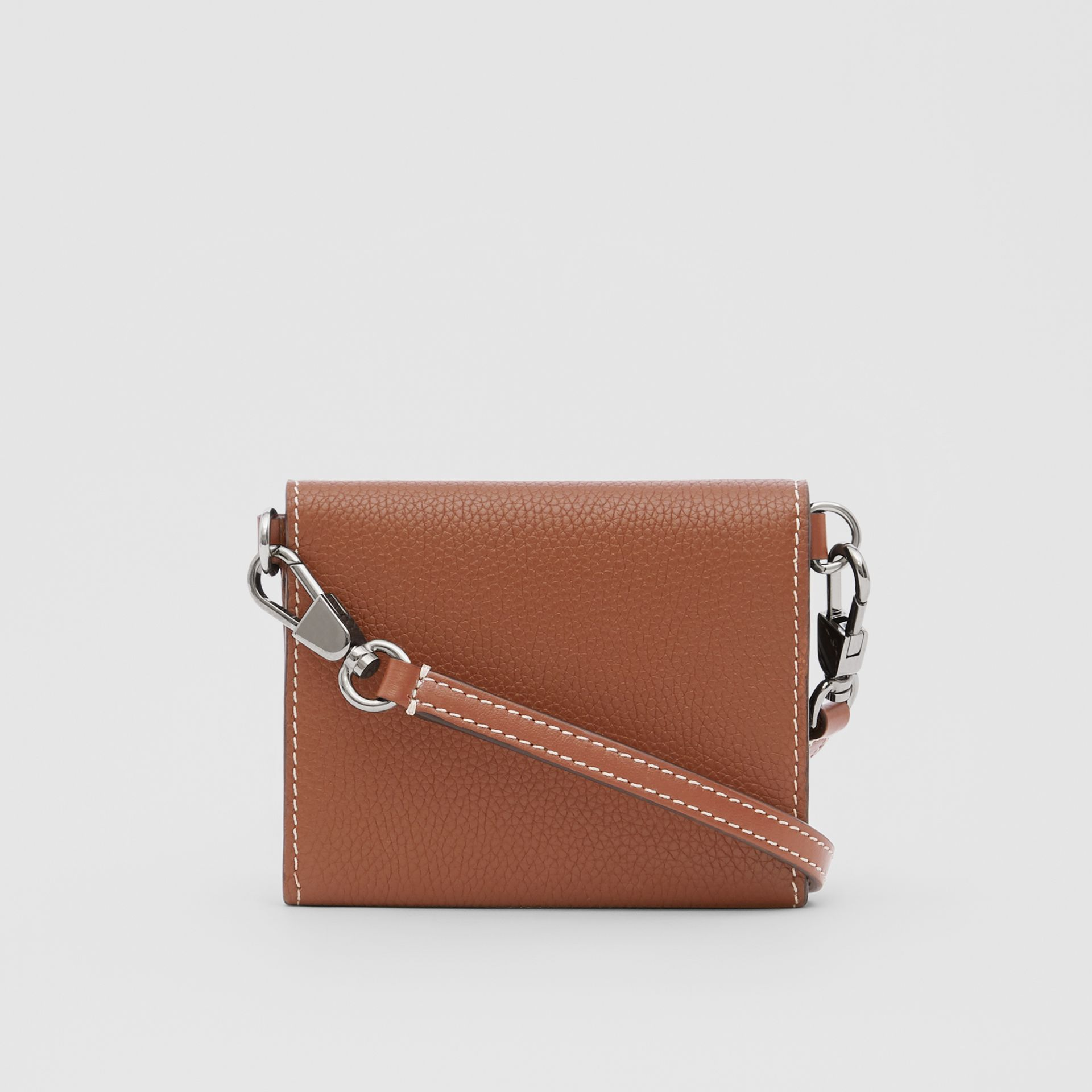 Small Grainy Leather Wallet with Detachable Strap in Tan | Burberry - gallery image 9