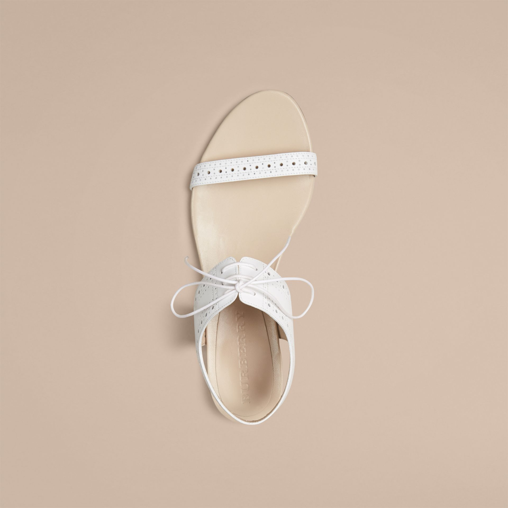 Optic white Perforated Detail Leather Sandals - gallery image 3