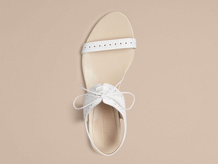 Optic white Perforated Detail Leather Sandals - cell image 2
