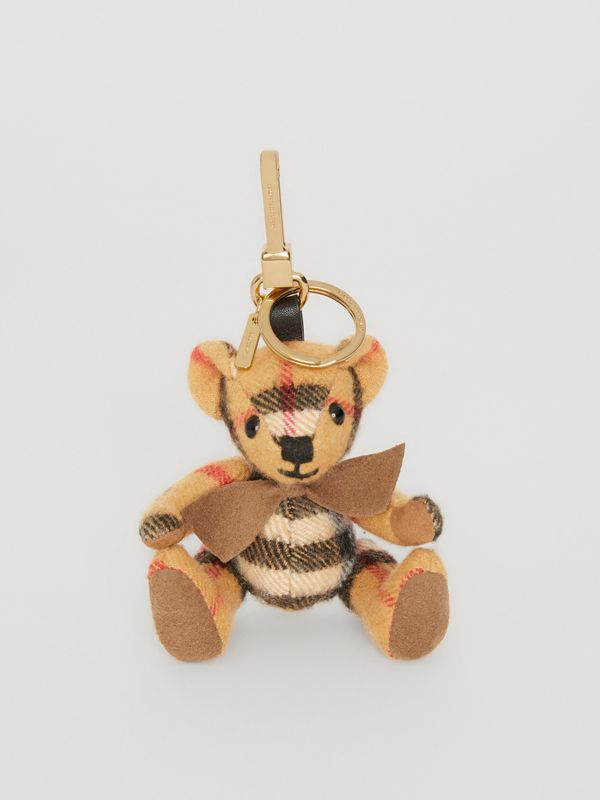 Thomas Bear Charm in Vintage Check Cashmere in Antique Yellow | Burberry - cell image 2