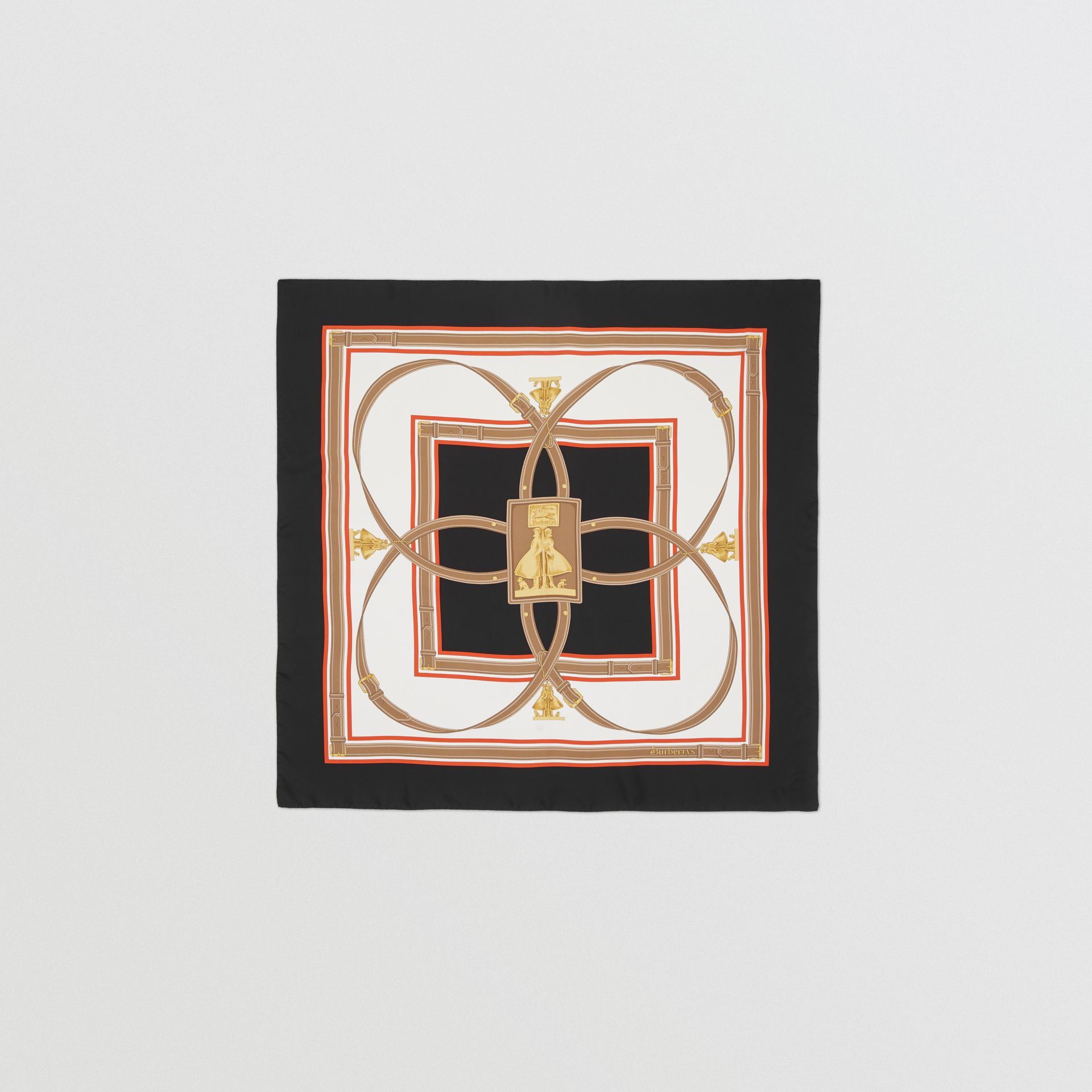 Archive Scarf Print Silk Square Scarf in Black | Burberry - gallery image 0