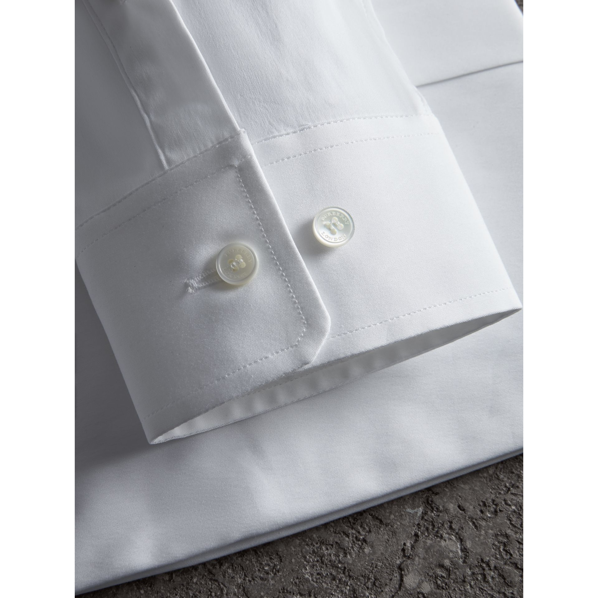 Modern Fit Button-down Collar Stretch Cotton Shirt in White - Men | Burberry Australia - gallery image 2