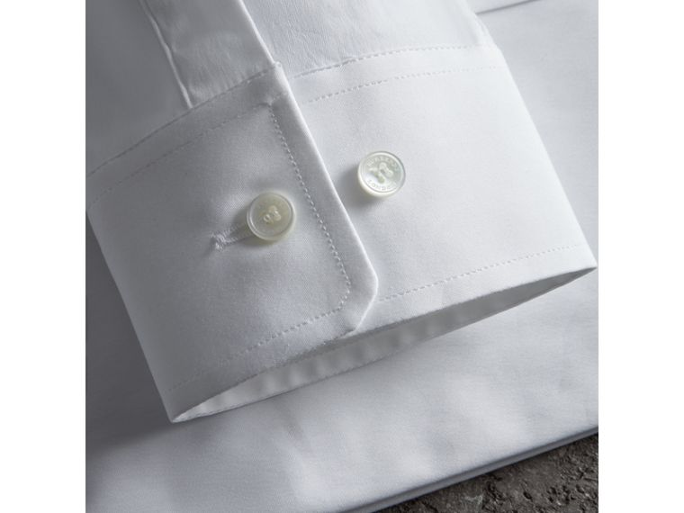 Modern Fit Button-down Collar Stretch Cotton Shirt in White - Men | Burberry Australia - cell image 1