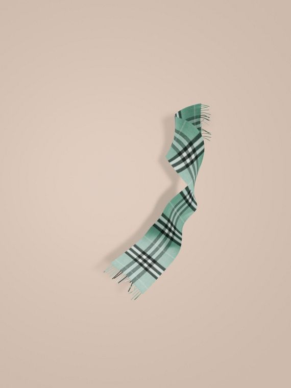 The Mini Classic Cashmere Scarf in Check Dusty Mint