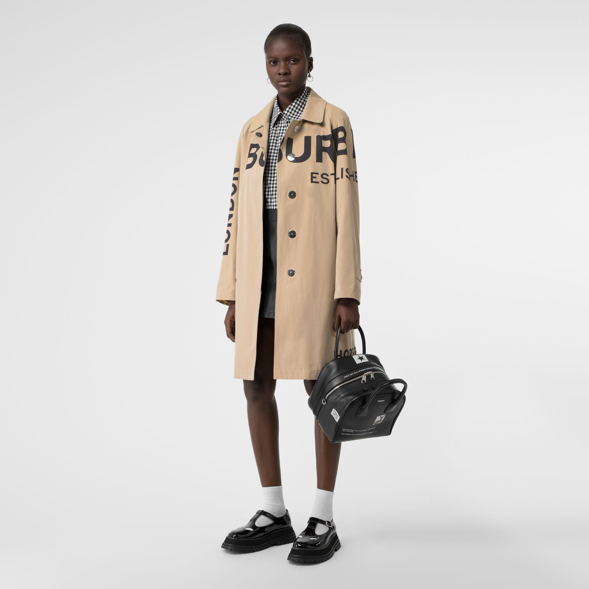 Horseferry Print Cotton Gabardine Car Coat in Honey - Women | Burberry Singapore - gallery image 0