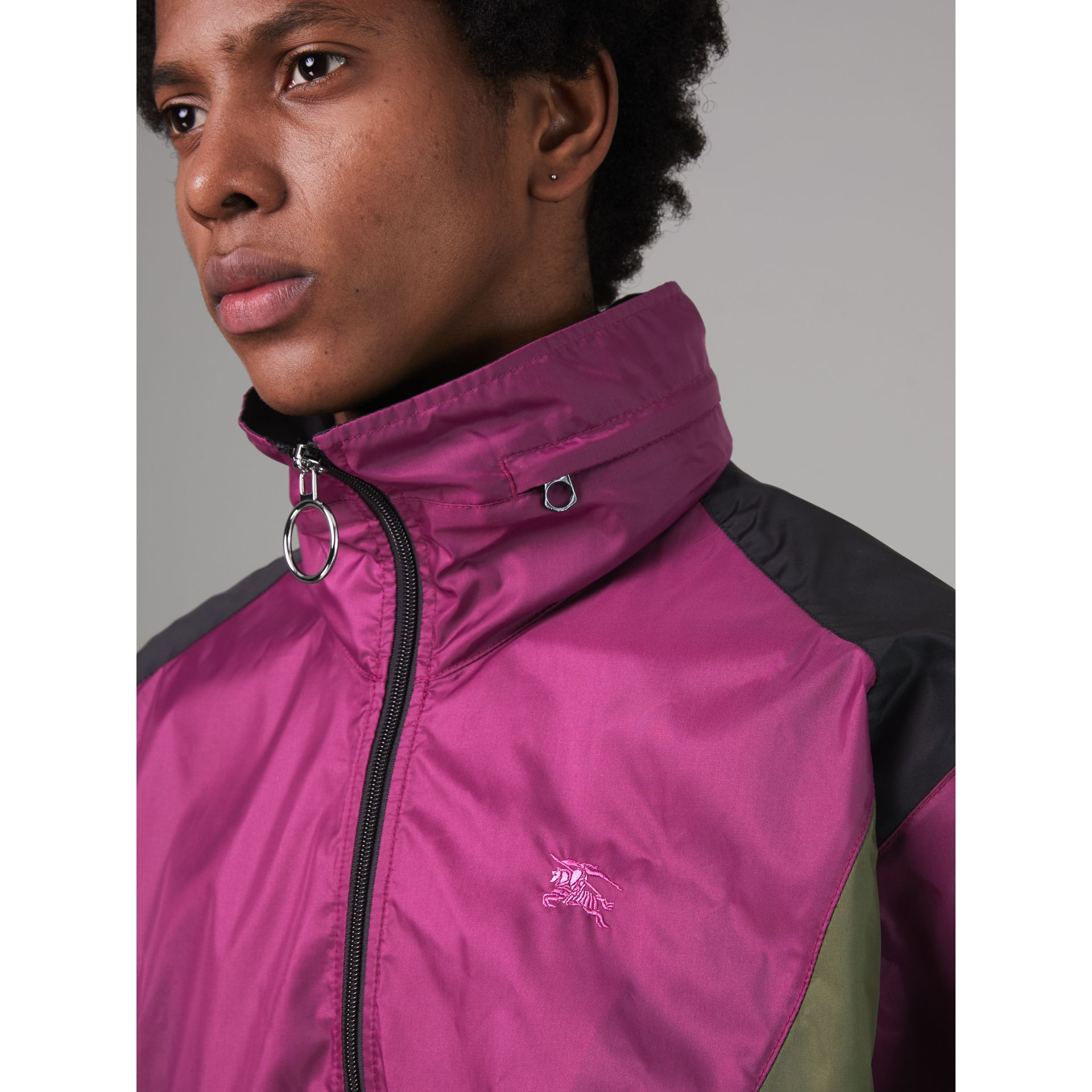 Packaway Hood Colour Block Lightweight Jacket in Regency Purple - Men | Burberry - gallery image 4