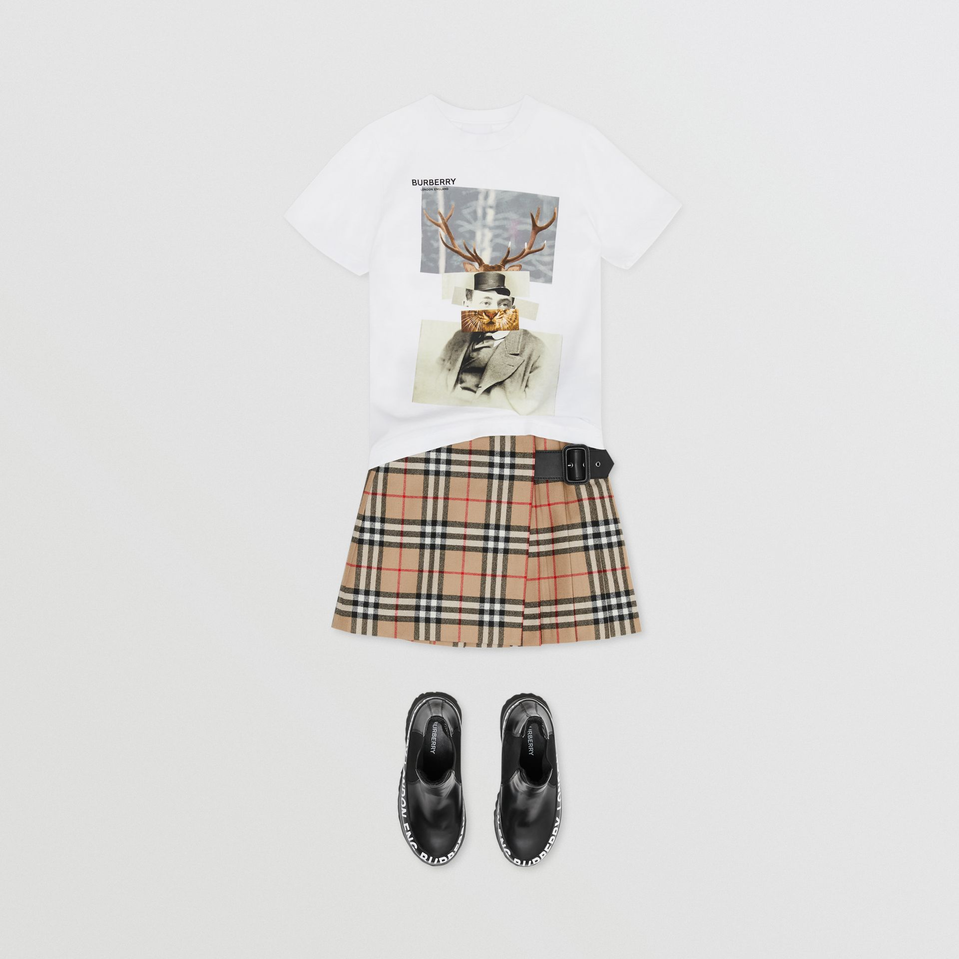 Collage Print Cotton T-shirt in White | Burberry - gallery image 2