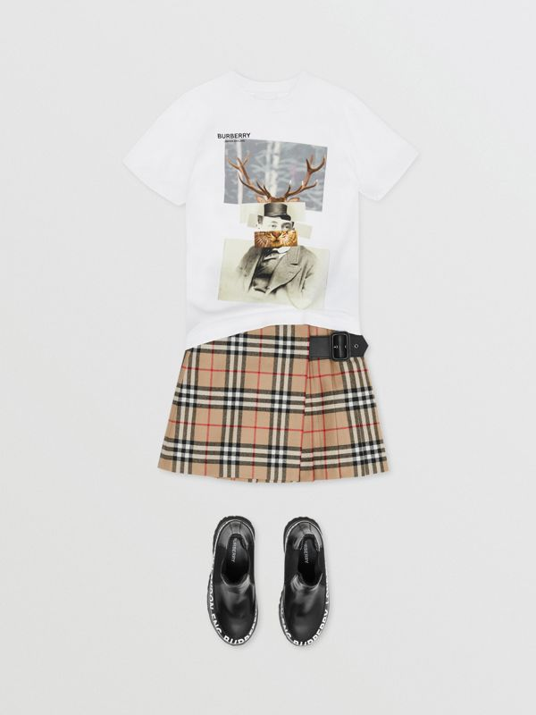 Collage Print Cotton T-shirt in White | Burberry - cell image 2