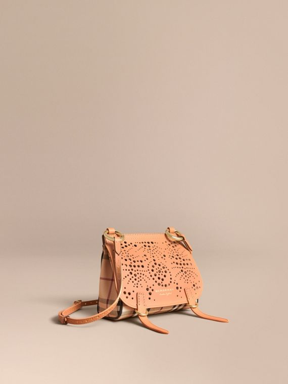 The Baby Bridle Bag in Leather and Haymarket Check Pale Clementine