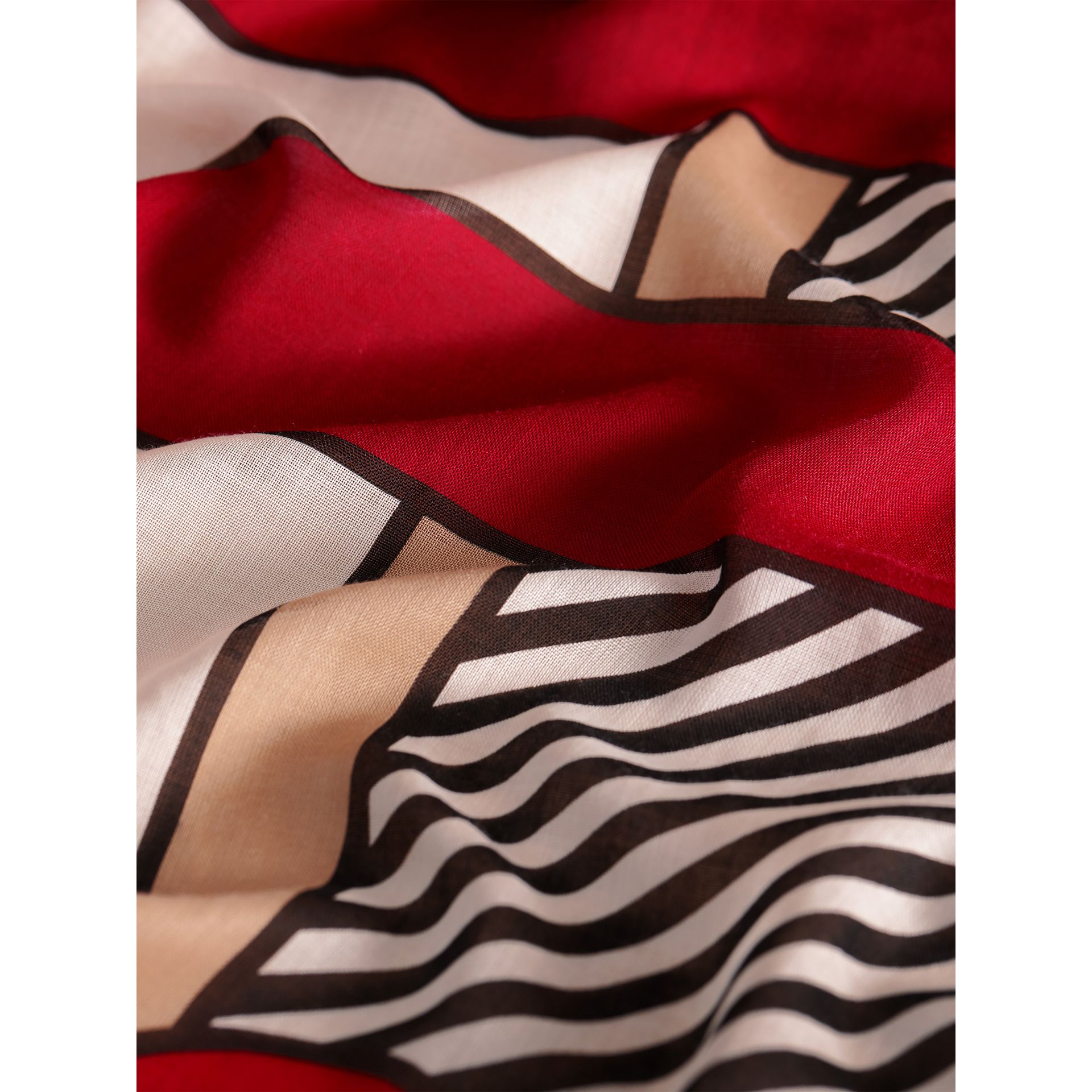Striped Exaggerated Check Cashmere Silk Scarf in Camel - Women | Burberry - gallery image 2