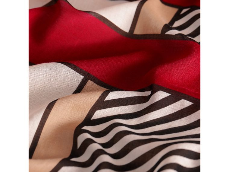 Striped Exaggerated Check Cashmere Silk Scarf in Camel - Women | Burberry - cell image 1