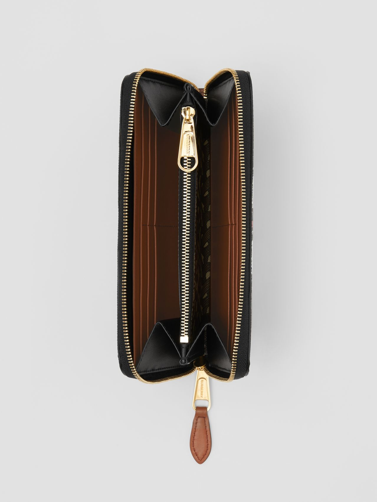 Monogram Stripe E-canvas and Leather Ziparound Wallet in Bridle Brown