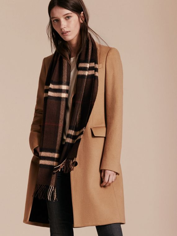 Dark chestnut brown check The Classic Cashmere Scarf in Check Dark Chestnut Brown - cell image 2