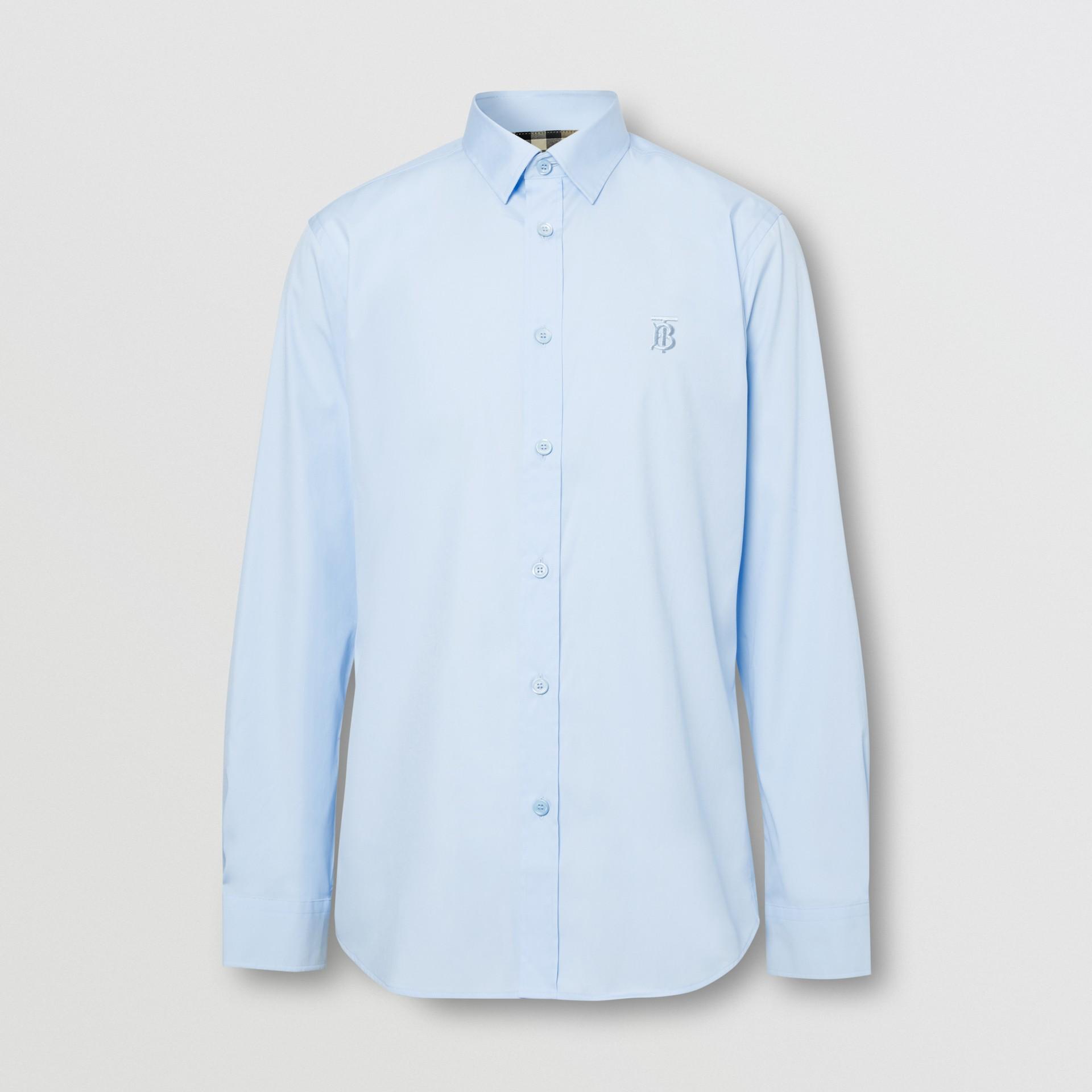 Monogram Motif Cotton Oxford Shirt in White - Men | Burberry - gallery image 3