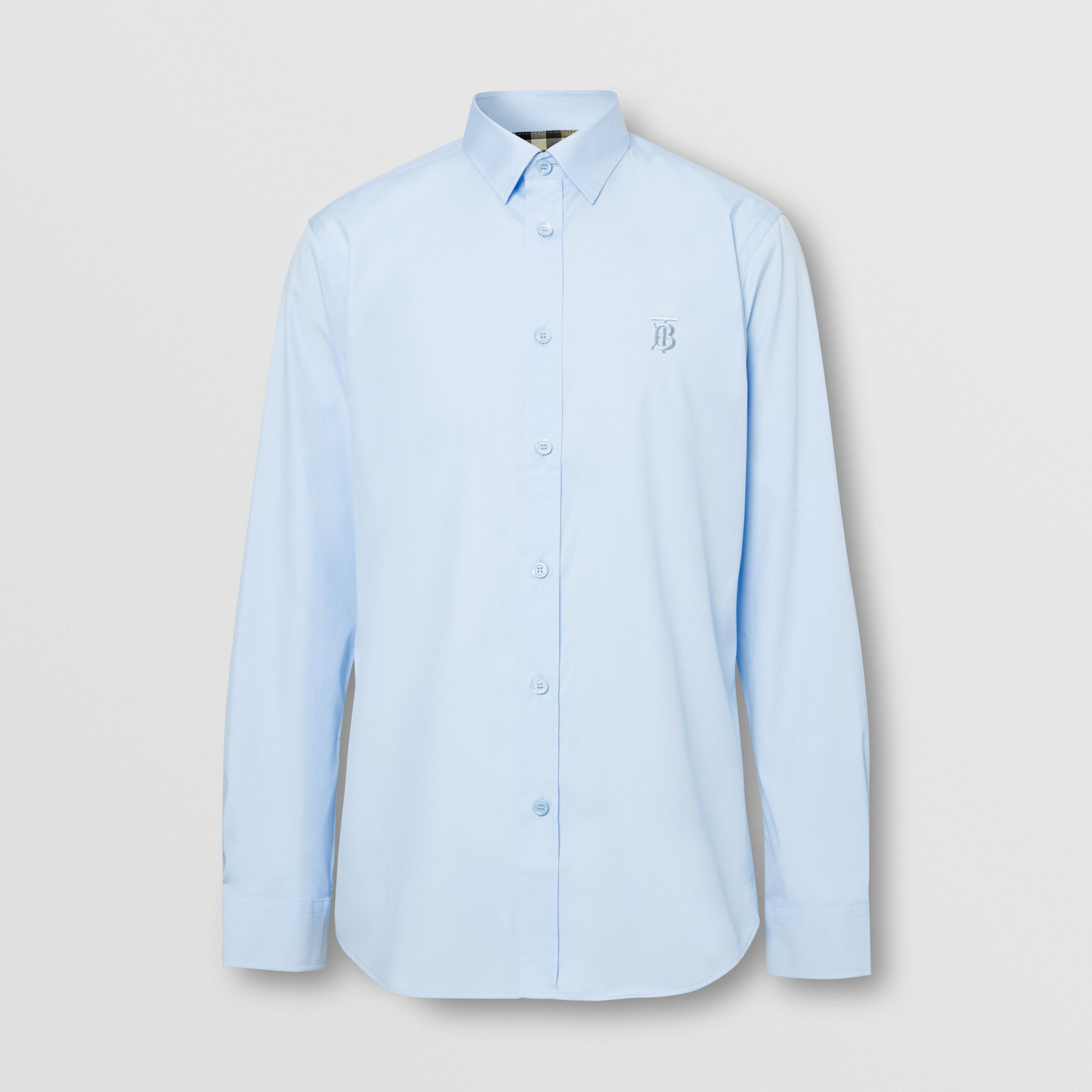 Classic Fit Monogram Motif Cotton Oxford Shirt in Sky Blue - Men | Burberry - 4