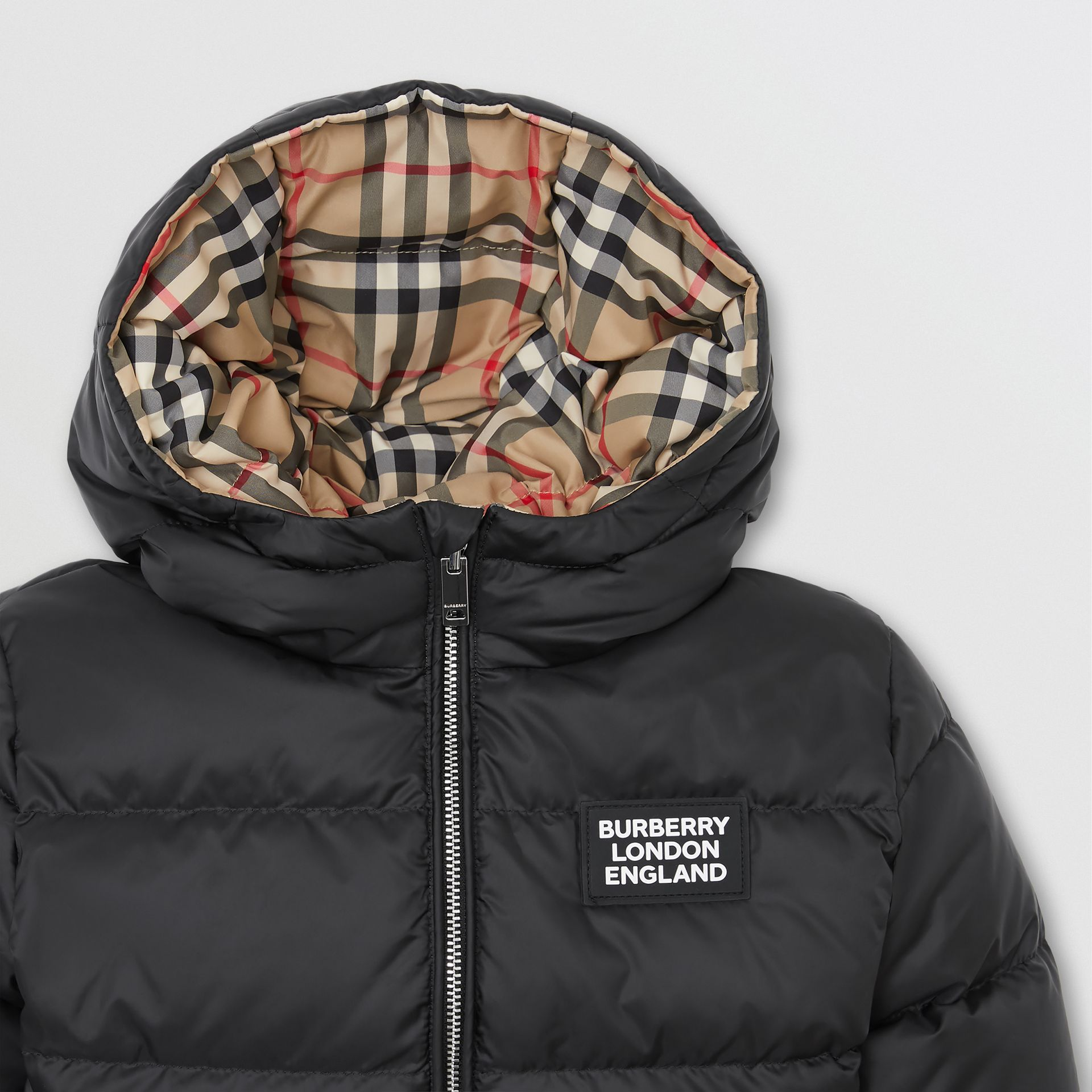 Reversible Vintage Check Down-filled Puffer Jacket in Black - Children | Burberry Singapore - gallery image 6