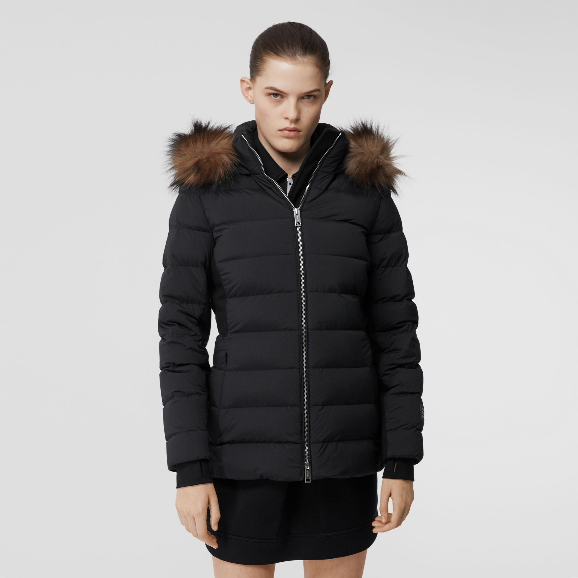 Detachable Faux Fur Trim Hooded Puffer Jacket in Black - Women | Burberry - gallery image 6