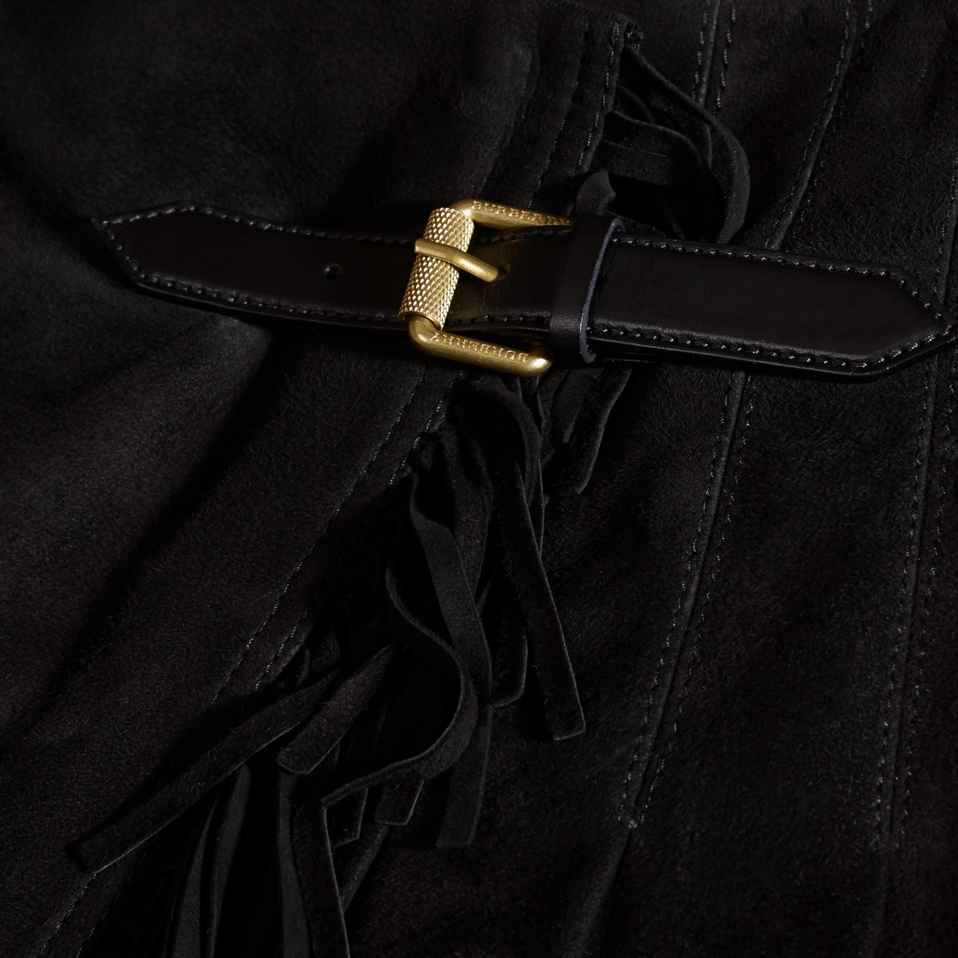 Nero Kilt in pelle scamosciata con frange - immagine della galleria 2