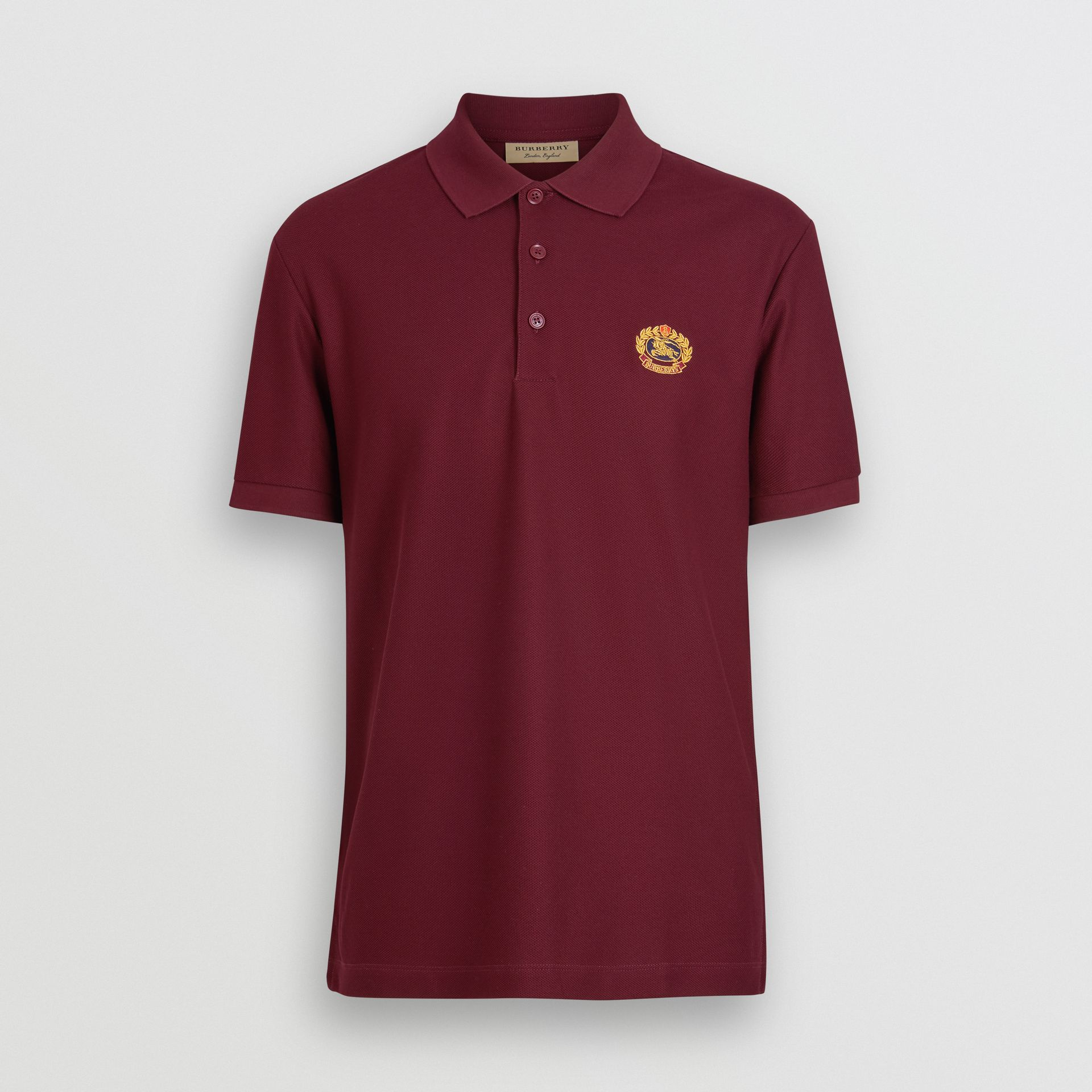 Archive Logo Cotton Piqué Polo Shirt in Burgundy - Men | Burberry Australia - gallery image 3