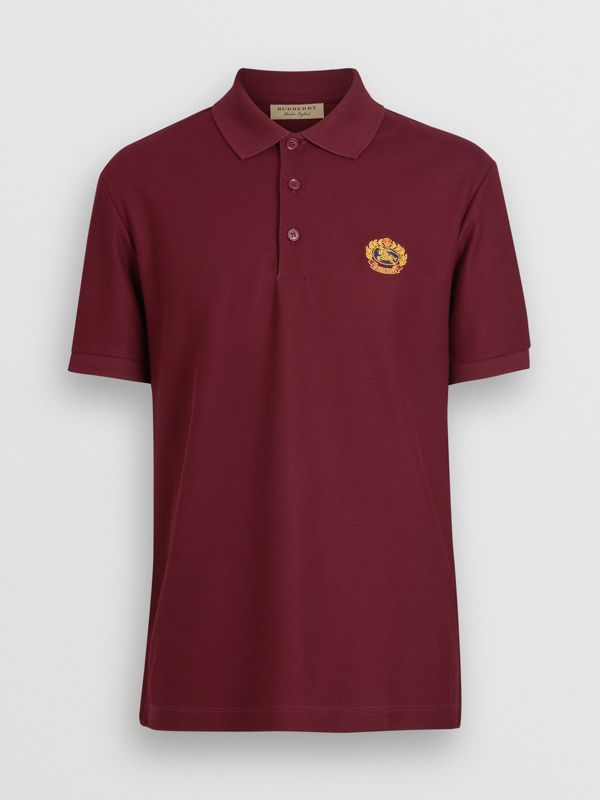 Archive Logo Cotton Piqué Polo Shirt in Burgundy - Men | Burberry Australia - cell image 3