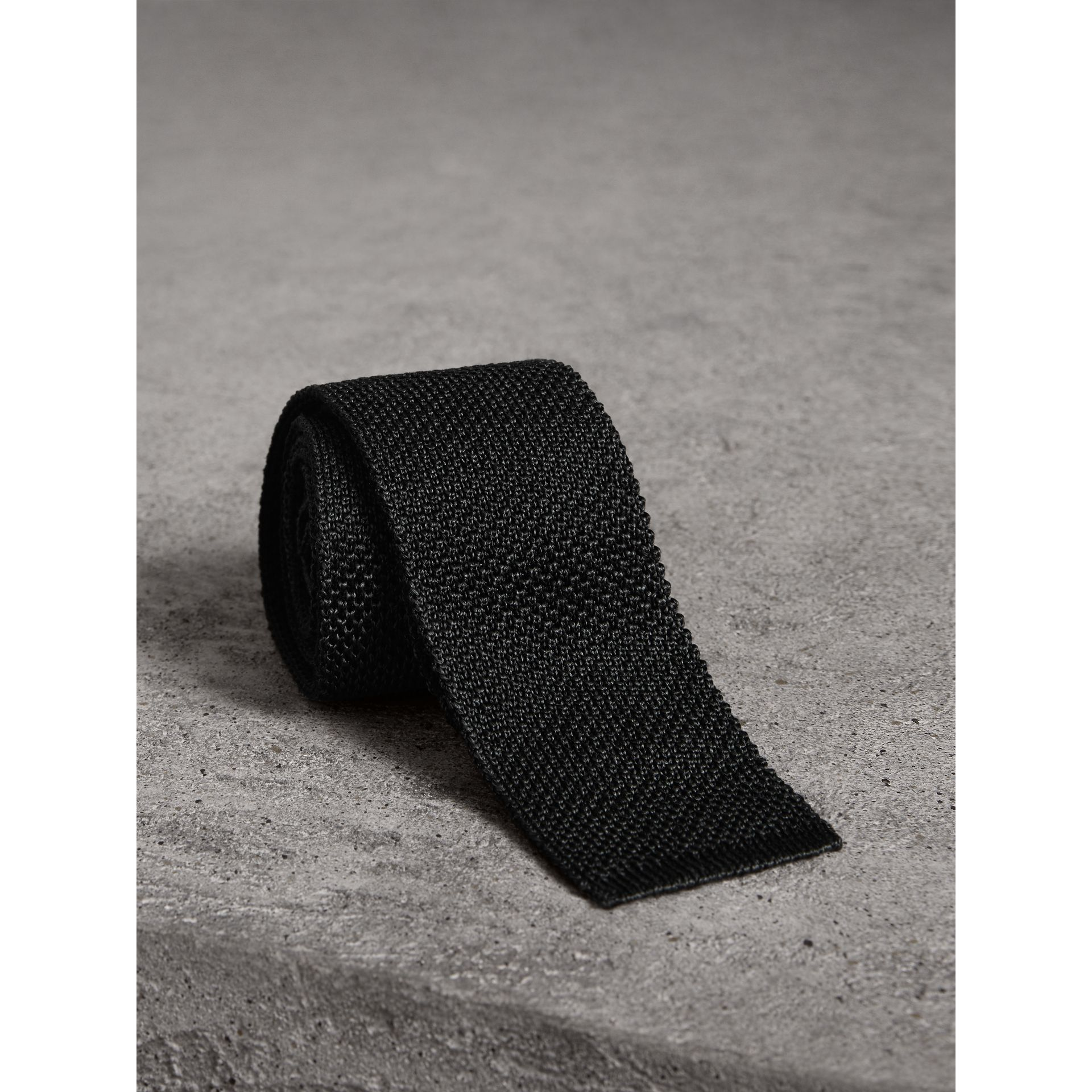 Slim Cut Two-tone Knitted Silk Tie in Black - Men | Burberry - gallery image 1