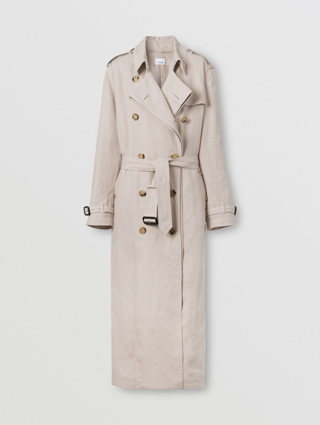 Linen Loop-back Trench Coat in Oatmeal