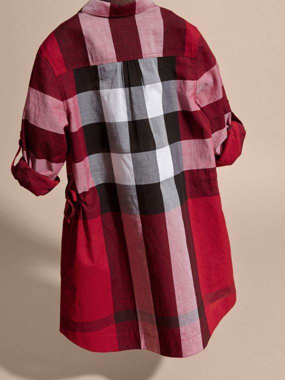 Check Cotton Shirt Dress Parade Red - cell image 3